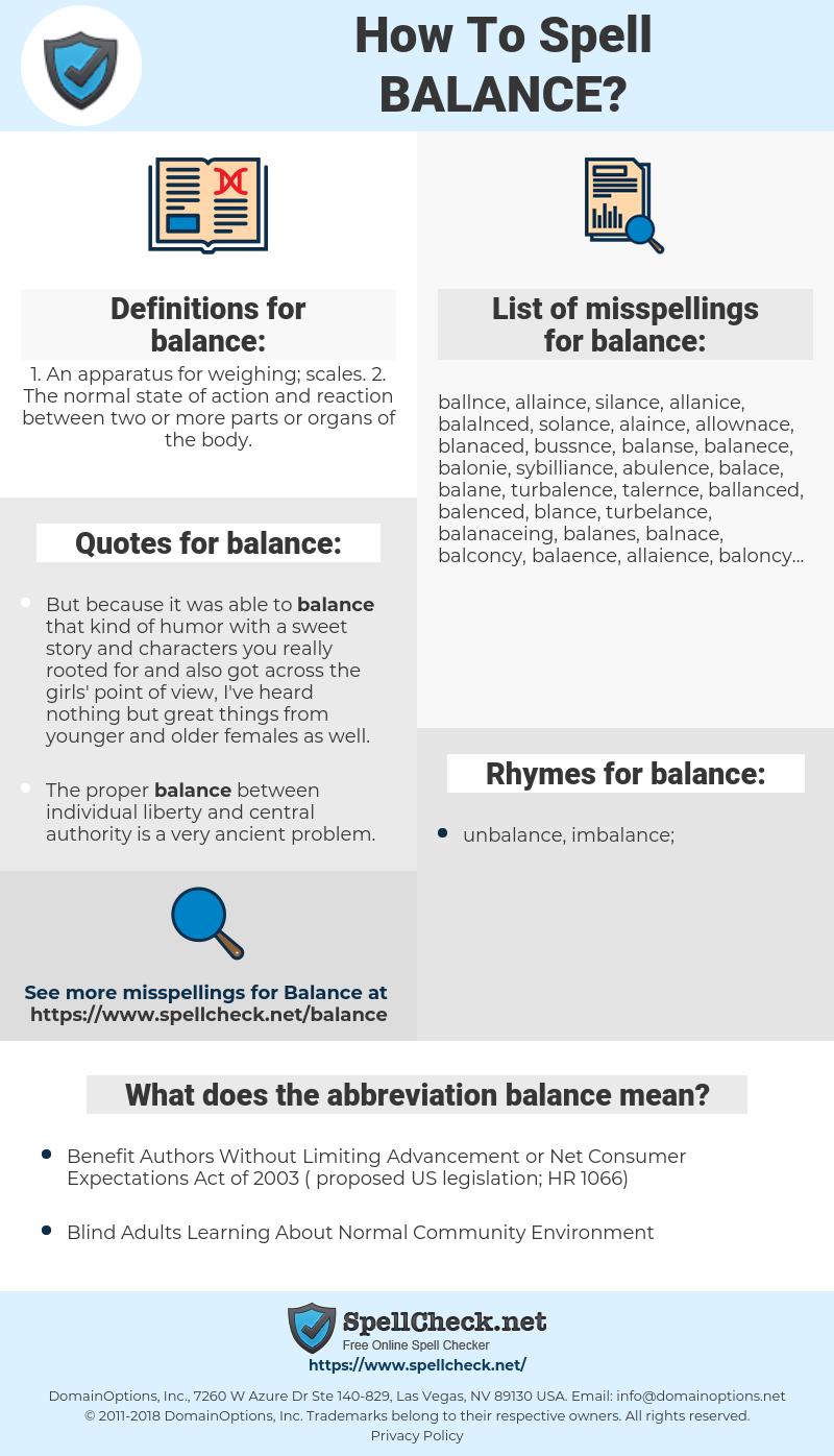 balance, spellcheck balance, how to spell balance, how do you spell balance, correct spelling for balance
