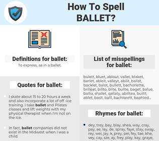 ballet, spellcheck ballet, how to spell ballet, how do you spell ballet, correct spelling for ballet