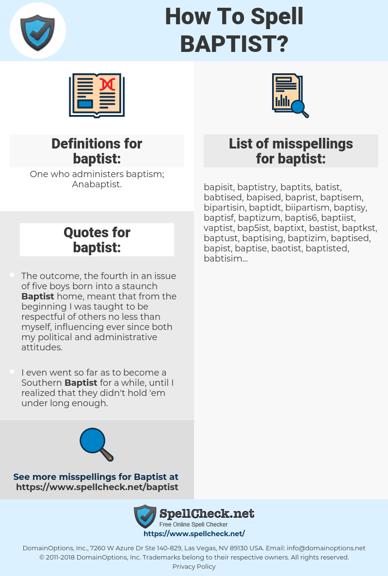 baptist, spellcheck baptist, how to spell baptist, how do you spell baptist, correct spelling for baptist