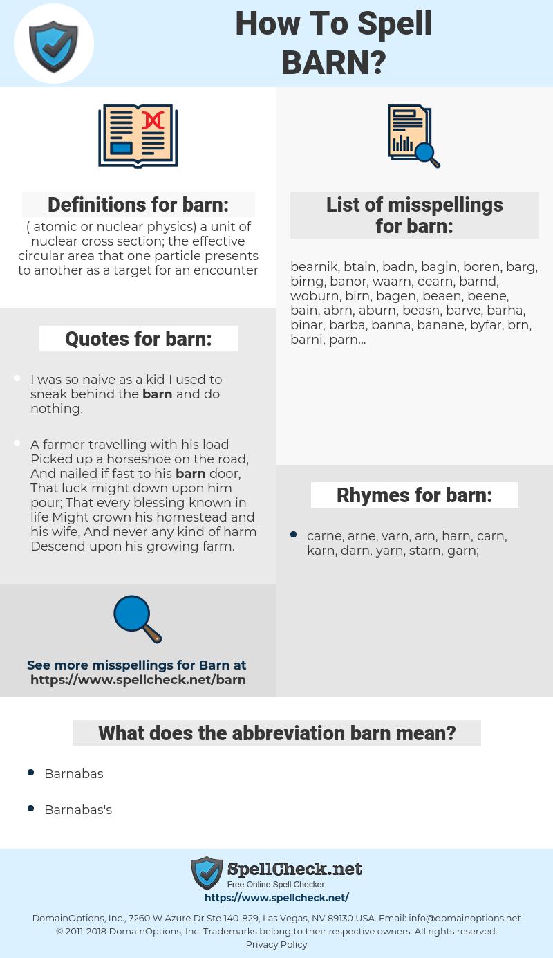 barn, spellcheck barn, how to spell barn, how do you spell barn, correct spelling for barn