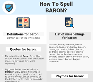baron, spellcheck baron, how to spell baron, how do you spell baron, correct spelling for baron