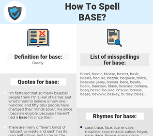 base, spellcheck base, how to spell base, how do you spell base, correct spelling for base