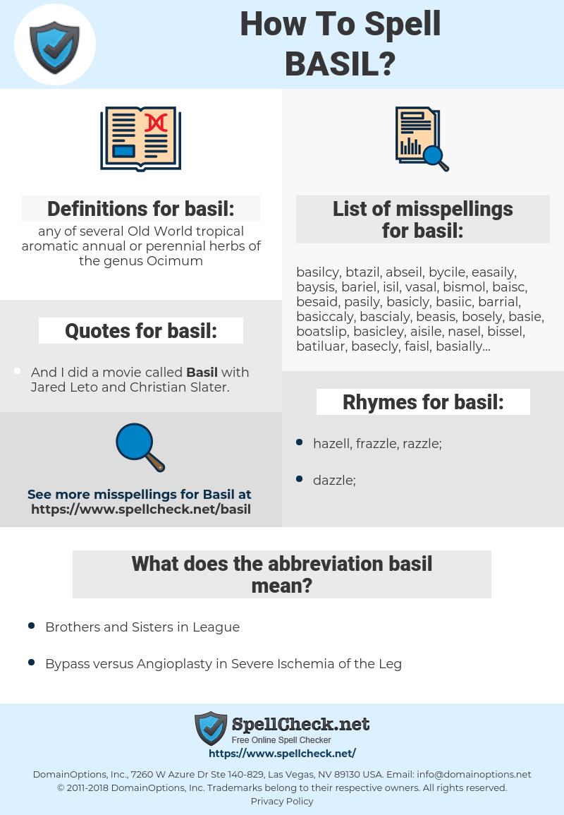 basil, spellcheck basil, how to spell basil, how do you spell basil, correct spelling for basil
