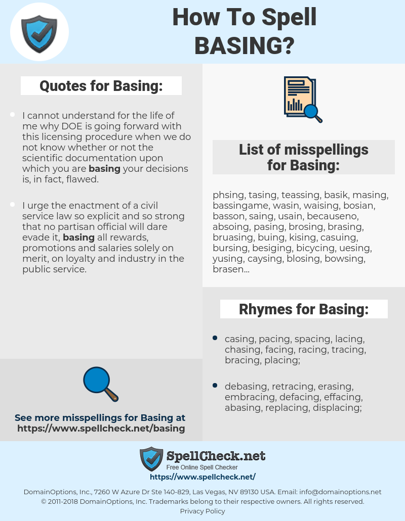 Basing, spellcheck Basing, how to spell Basing, how do you spell Basing, correct spelling for Basing