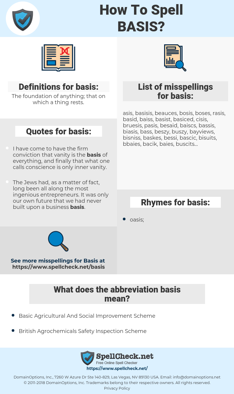 basis, spellcheck basis, how to spell basis, how do you spell basis, correct spelling for basis