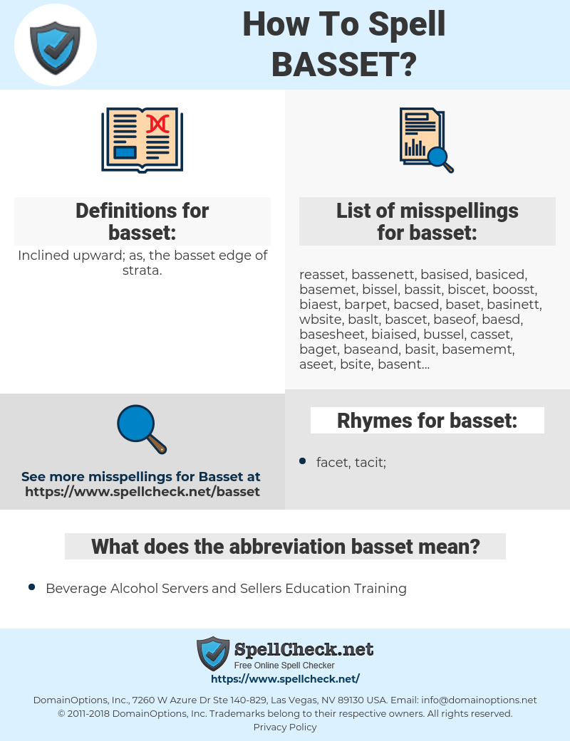 basset, spellcheck basset, how to spell basset, how do you spell basset, correct spelling for basset