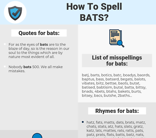 bats, spellcheck bats, how to spell bats, how do you spell bats, correct spelling for bats