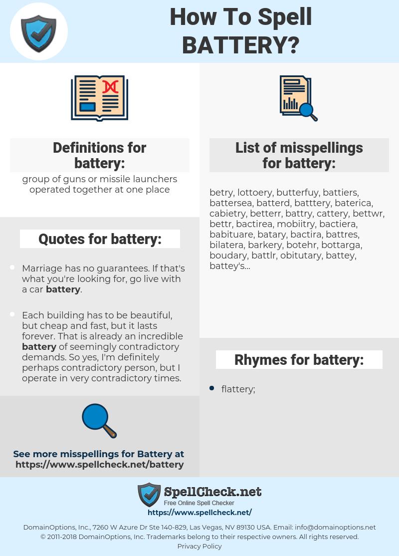 battery, spellcheck battery, how to spell battery, how do you spell battery, correct spelling for battery