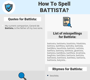 Battista, spellcheck Battista, how to spell Battista, how do you spell Battista, correct spelling for Battista