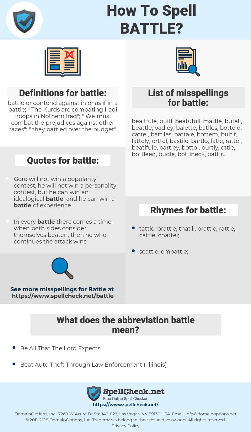battle, spellcheck battle, how to spell battle, how do you spell battle, correct spelling for battle