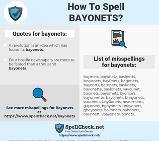 bayonets, spellcheck bayonets, how to spell bayonets, how do you spell bayonets, correct spelling for bayonets