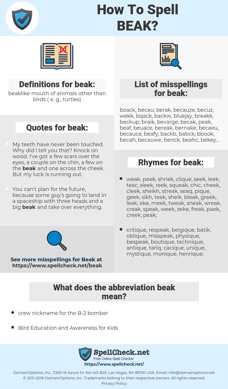 beak, spellcheck beak, how to spell beak, how do you spell beak, correct spelling for beak