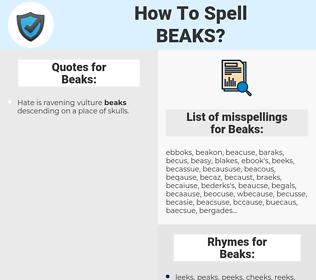 Beaks, spellcheck Beaks, how to spell Beaks, how do you spell Beaks, correct spelling for Beaks
