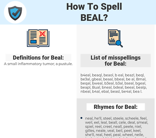 Beal, spellcheck Beal, how to spell Beal, how do you spell Beal, correct spelling for Beal