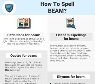 beam, spellcheck beam, how to spell beam, how do you spell beam, correct spelling for beam