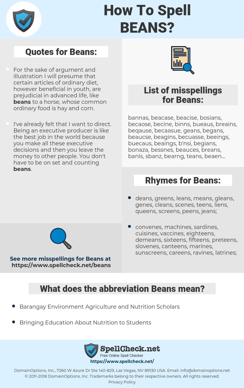 Beans, spellcheck Beans, how to spell Beans, how do you spell Beans, correct spelling for Beans