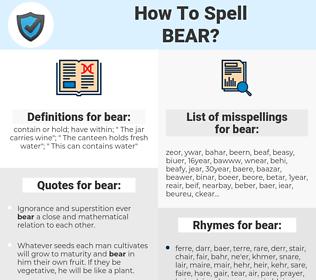 bear, spellcheck bear, how to spell bear, how do you spell bear, correct spelling for bear