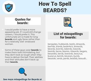 beards, spellcheck beards, how to spell beards, how do you spell beards, correct spelling for beards