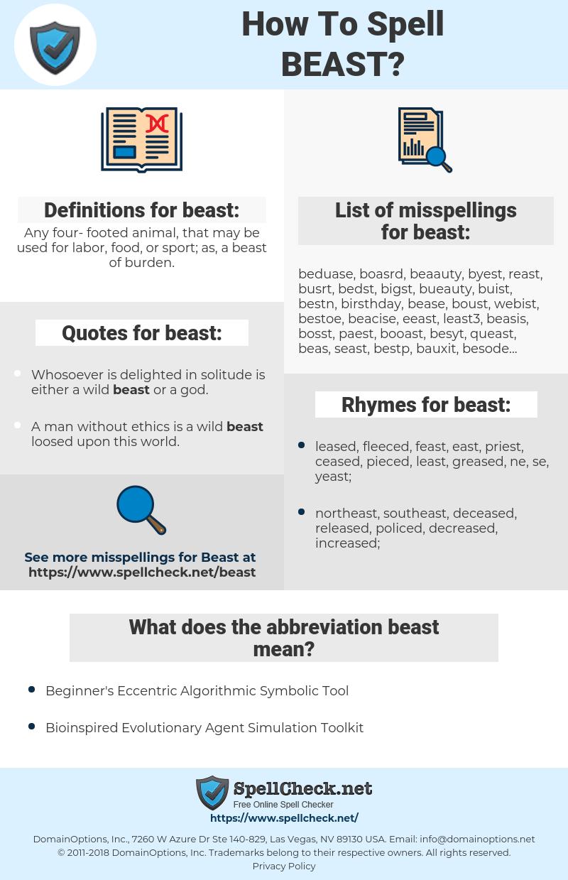 beast, spellcheck beast, how to spell beast, how do you spell beast, correct spelling for beast
