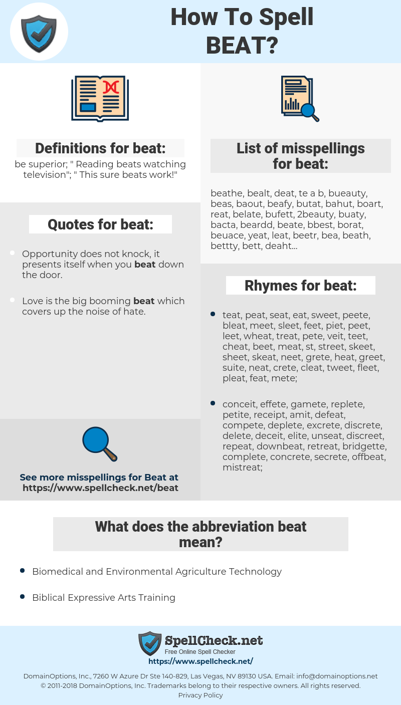 beat, spellcheck beat, how to spell beat, how do you spell beat, correct spelling for beat