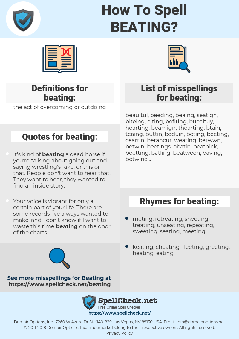 beating, spellcheck beating, how to spell beating, how do you spell beating, correct spelling for beating