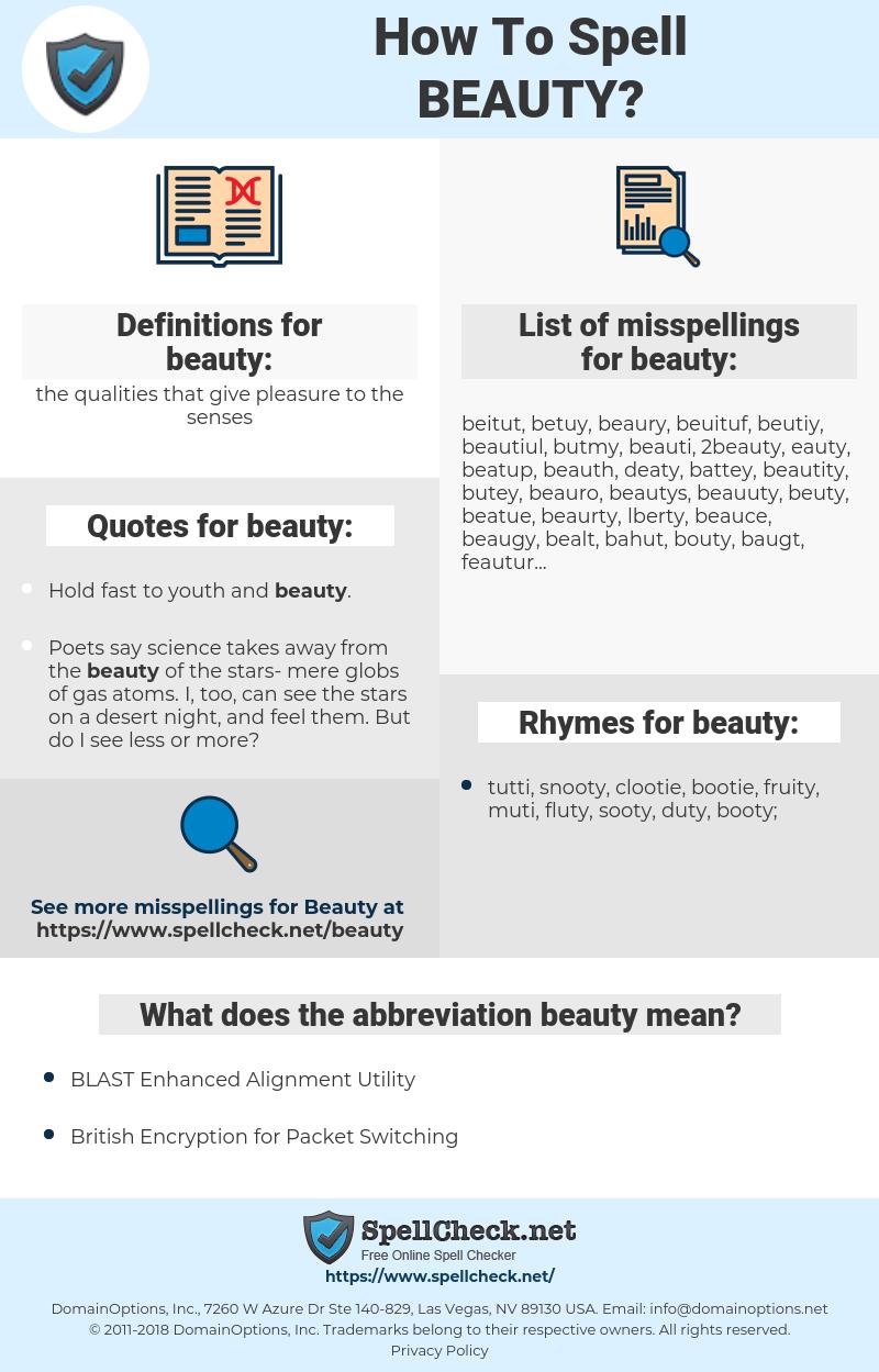 beauty, spellcheck beauty, how to spell beauty, how do you spell beauty, correct spelling for beauty