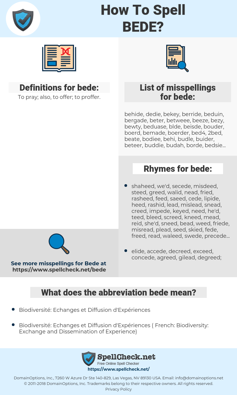 bede, spellcheck bede, how to spell bede, how do you spell bede, correct spelling for bede