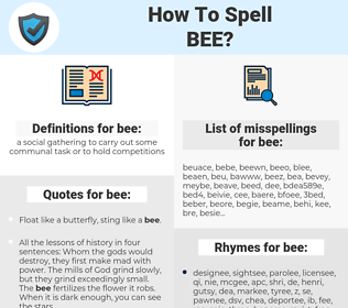 bee, spellcheck bee, how to spell bee, how do you spell bee, correct spelling for bee