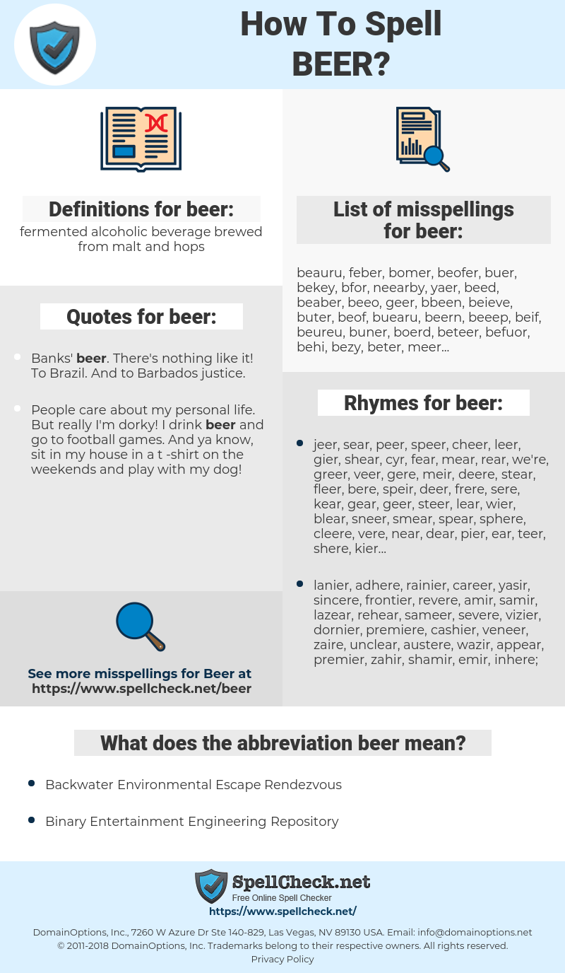 How To Spell Beer (And How To Misspell It Too) | Spellcheck net