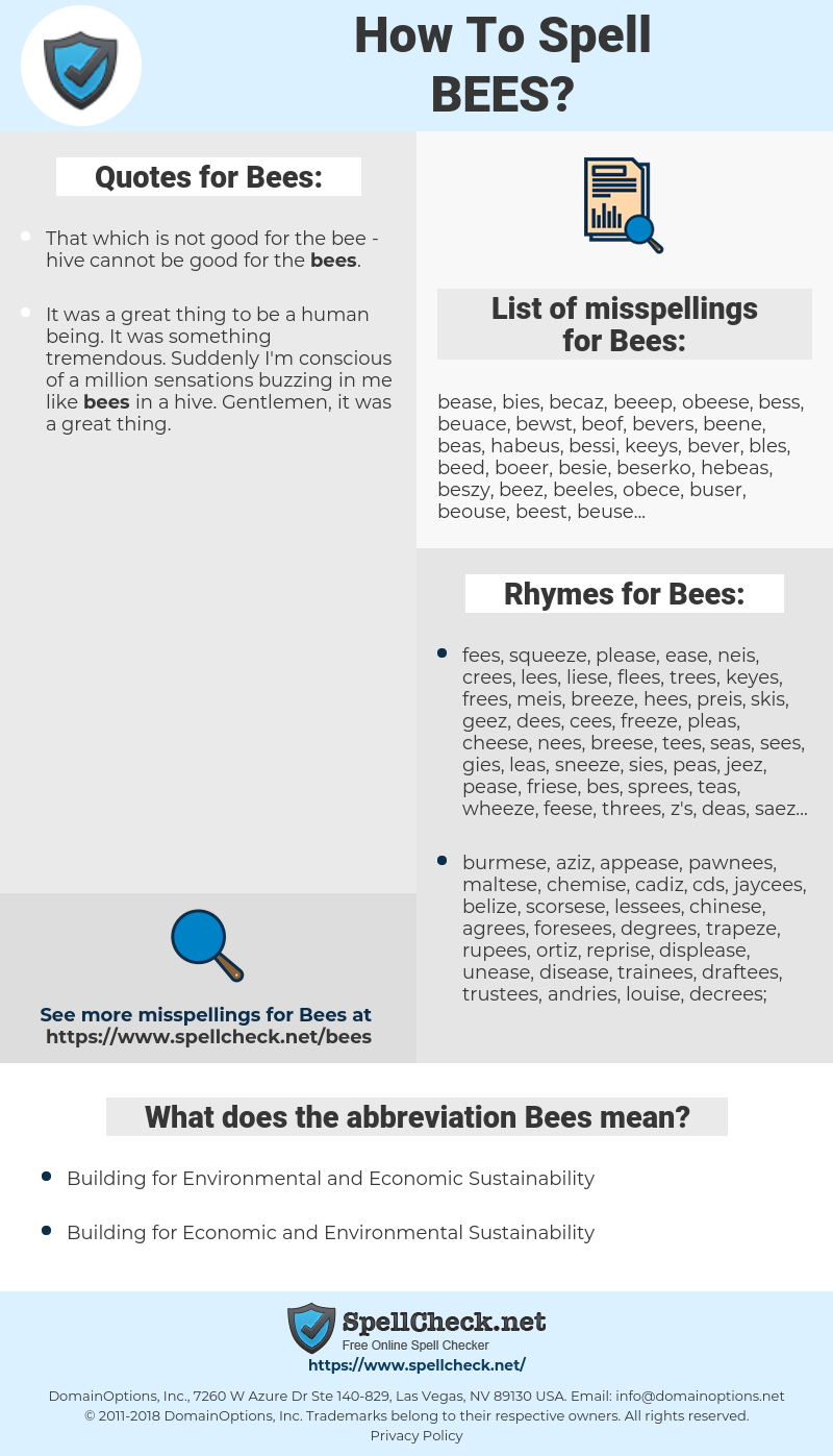 Bees, spellcheck Bees, how to spell Bees, how do you spell Bees, correct spelling for Bees