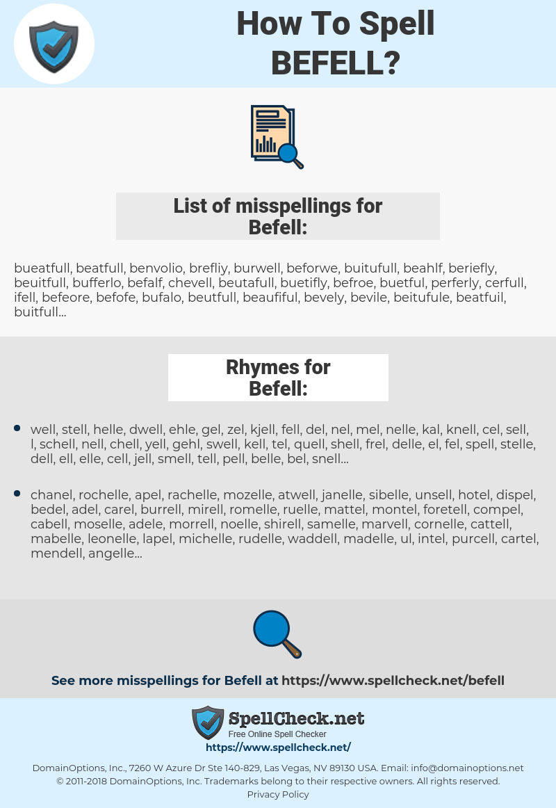 Befell, spellcheck Befell, how to spell Befell, how do you spell Befell, correct spelling for Befell