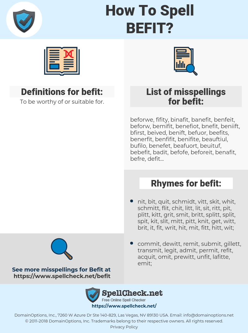 befit, spellcheck befit, how to spell befit, how do you spell befit, correct spelling for befit