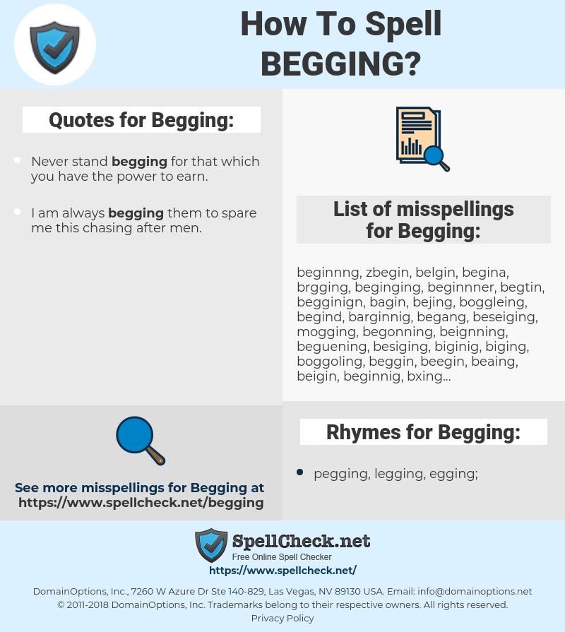 Begging, spellcheck Begging, how to spell Begging, how do you spell Begging, correct spelling for Begging