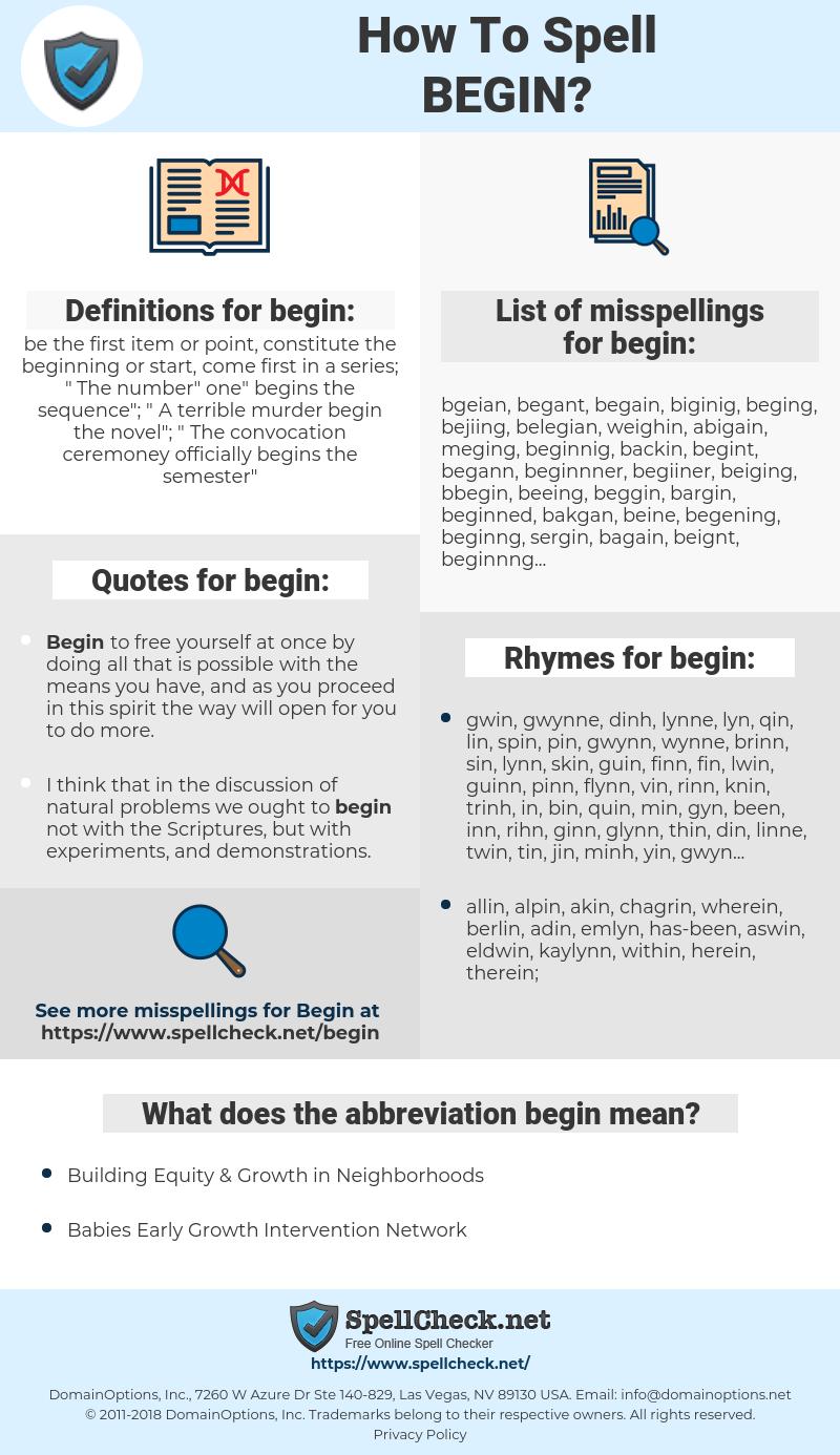 begin, spellcheck begin, how to spell begin, how do you spell begin, correct spelling for begin