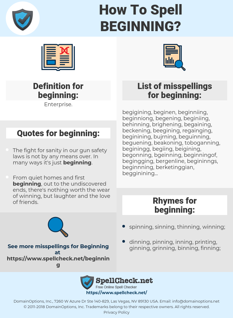 How To Spell Beginning (And How To Misspell It Too)   Spellcheck.net
