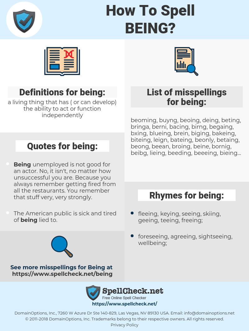 being, spellcheck being, how to spell being, how do you spell being, correct spelling for being