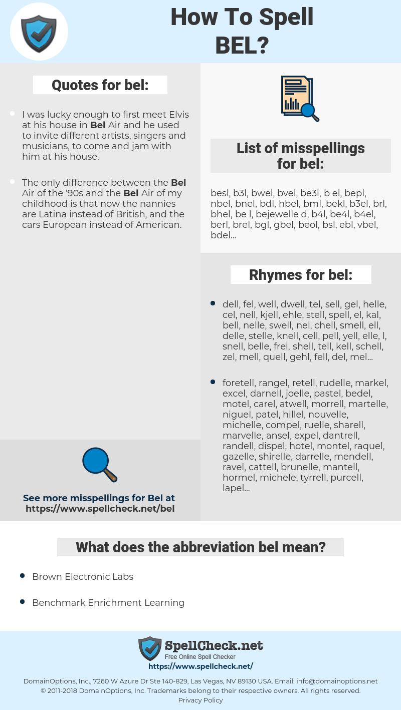 bel, spellcheck bel, how to spell bel, how do you spell bel, correct spelling for bel