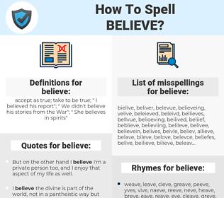 believe, spellcheck believe, how to spell believe, how do you spell believe, correct spelling for believe