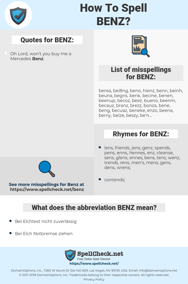 BENZ, spellcheck BENZ, how to spell BENZ, how do you spell BENZ, correct spelling for BENZ