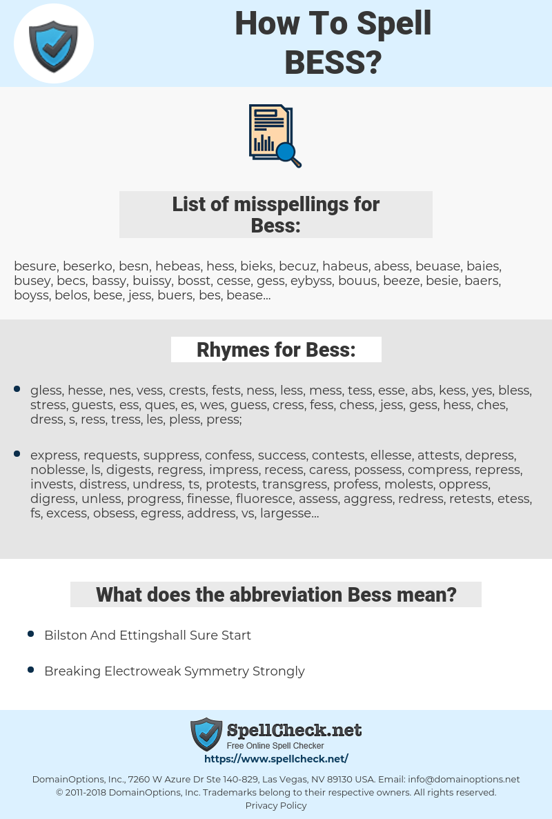 Bess, spellcheck Bess, how to spell Bess, how do you spell Bess, correct spelling for Bess