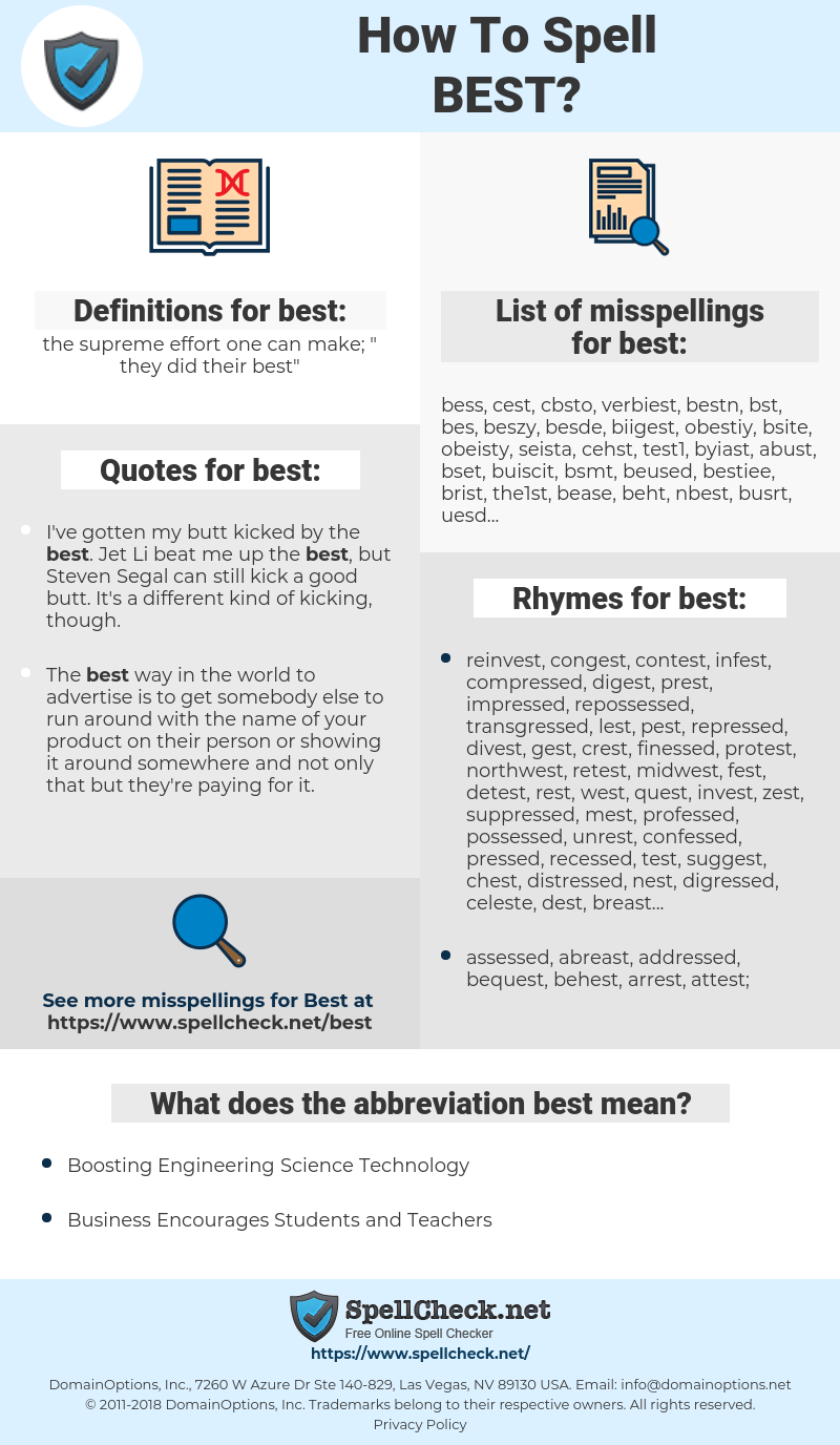 best, spellcheck best, how to spell best, how do you spell best, correct spelling for best