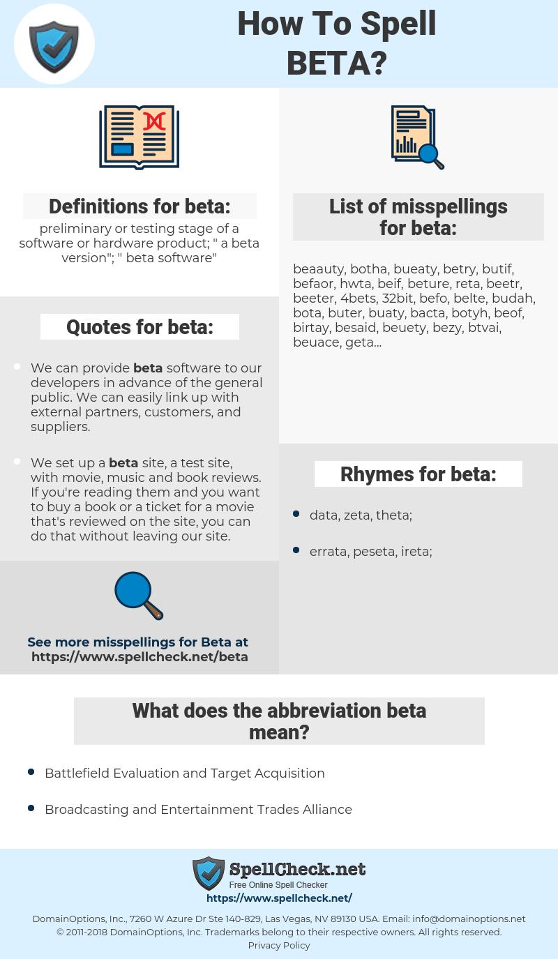 beta, spellcheck beta, how to spell beta, how do you spell beta, correct spelling for beta