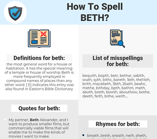 beth, spellcheck beth, how to spell beth, how do you spell beth, correct spelling for beth