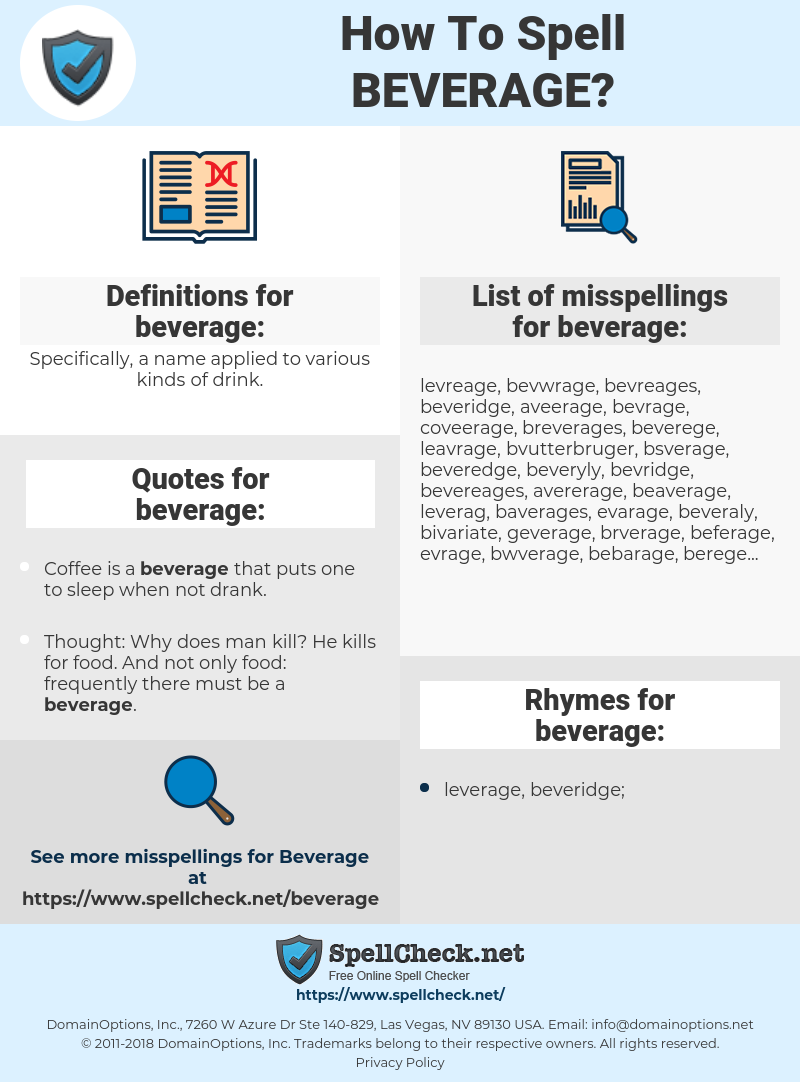 beverage, spellcheck beverage, how to spell beverage, how do you spell beverage, correct spelling for beverage