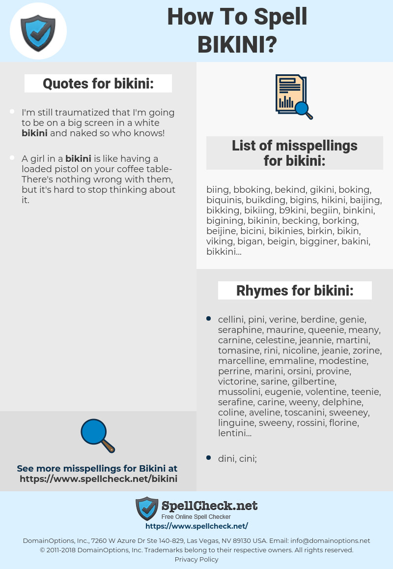 bikini, spellcheck bikini, how to spell bikini, how do you spell bikini, correct spelling for bikini