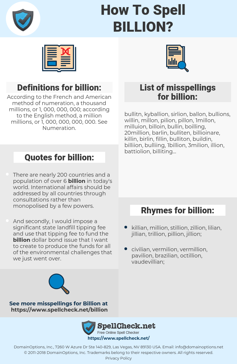 billion, spellcheck billion, how to spell billion, how do you spell billion, correct spelling for billion