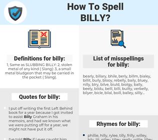 billy, spellcheck billy, how to spell billy, how do you spell billy, correct spelling for billy
