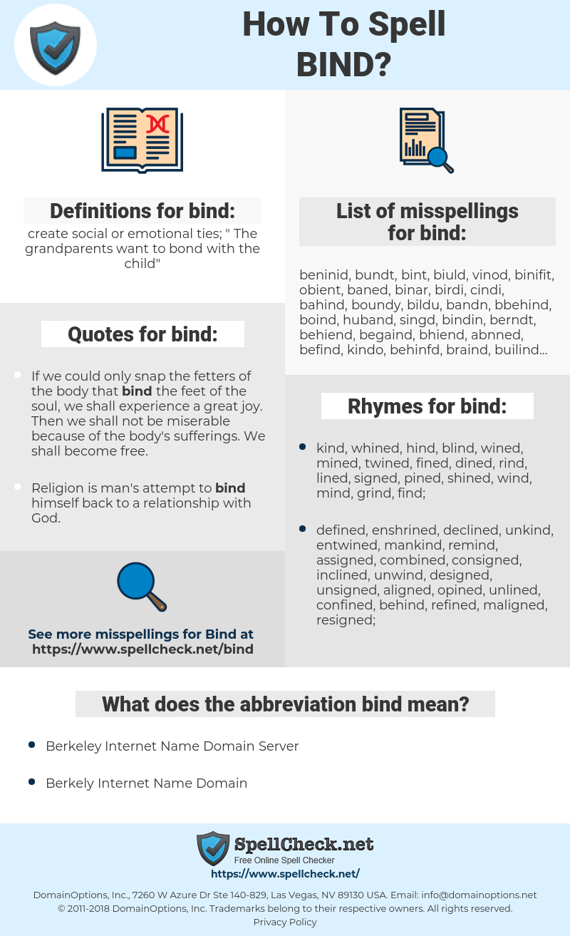 bind, spellcheck bind, how to spell bind, how do you spell bind, correct spelling for bind