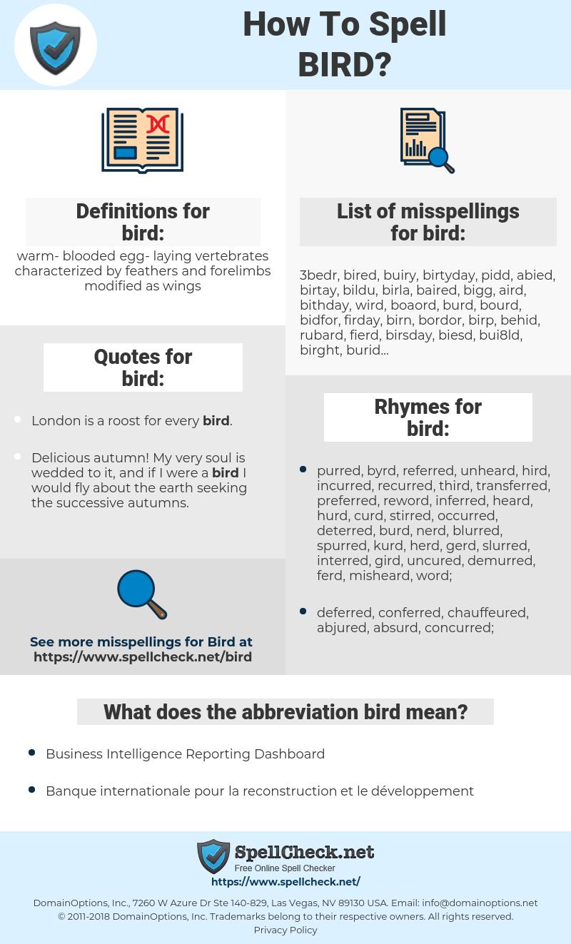 bird, spellcheck bird, how to spell bird, how do you spell bird, correct spelling for bird