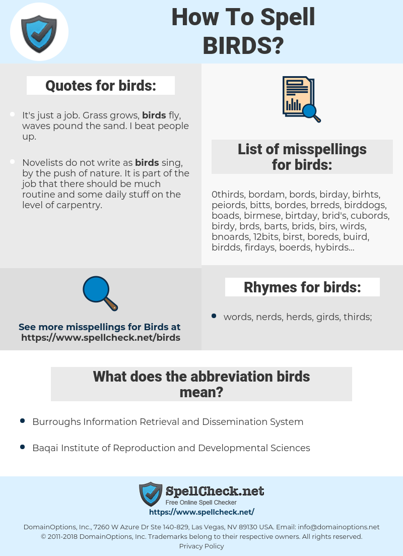 birds, spellcheck birds, how to spell birds, how do you spell birds, correct spelling for birds